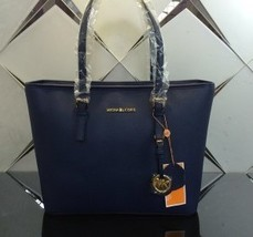 MICHAEL KORS JET SET  TRAVEL large CARRYALL TOTE  SHOULDER LEATHER NAVY ... - $129.00