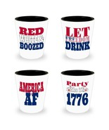 SET of 4 Patriotic Shot Glasses America AF Red White Blue Boozed Funny S... - $26.41