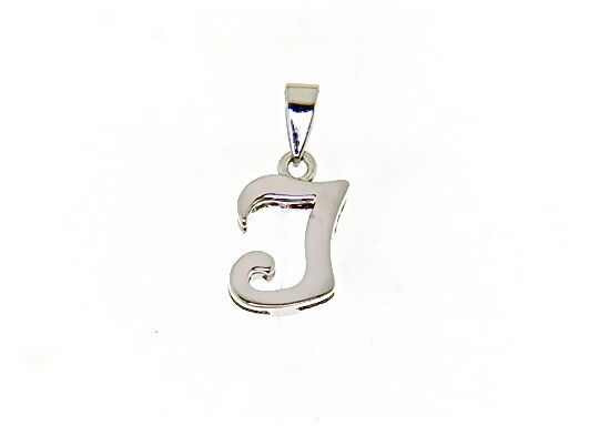 18K WHITE GOLD LUSTER PENDANT WITH INITIAL I LETTER  I MADE IN ITALY 0.71 INCHES
