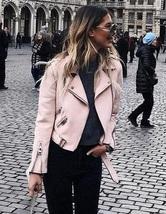 New light baby pink faux suede women motorcycle jacket biker belt spring summer - $58.00