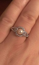 STERLING SILVER FRESHWATER CULTURED PEARL AND DIAMOND RING - SIZE 8 - £31.81 GBP