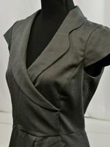 Armani Collezioni Sz 6 US/42 IT Dress Faux Wrap V Neck Black&Gray Cap Sl... - $105.18