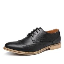 Handmade Men's Black Leather Tan Sole Wing Tip Brogues Dress/Formal Oxford L image 5