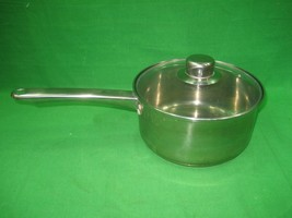"Vintage Chefmate Cookware Stainless Steel Sauce Pan & Glass Lid 7.75"" Di... - $18.66"