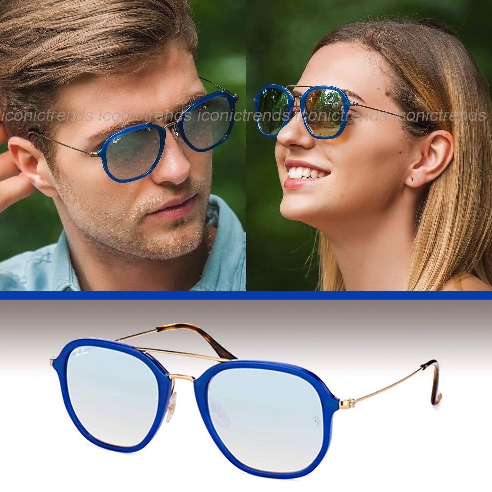bd0be9816fa NWT Ray Ban RB4273 6259 9U 52 Aviator Sunglasses Blue Silver Gradient  FlashLens