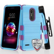 Baby Blue Brushed/Electric Purple TUFF Hybrid Phone Cover for LG K30/Pre... - $15.72