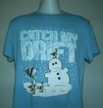 Snoopy Woodstock Snowman Catch My Drift T Shirt Large Cotton Poly Blend - $21.73