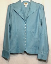 Talbots Womens Blouse Size 12 Blue Button Down Long Sleeve Career Cotton Top A8 - $16.39