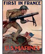 First In France - US Marines - 1917 - World War I - Propaganda Poster - $9.99+