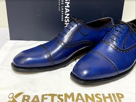 Handmade Men's Blue Leather Lace Up Dress/Formal Oxford Shoes image 2