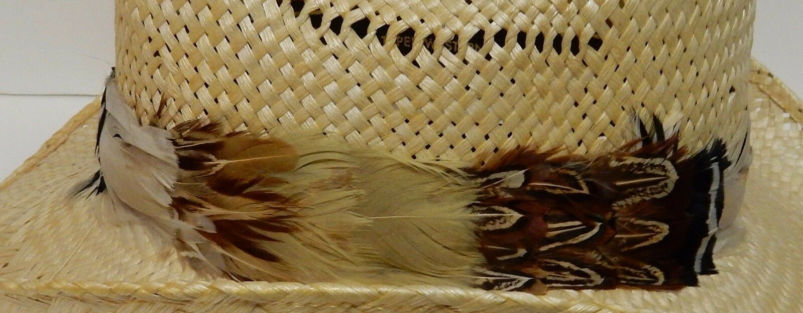 Resistol Stagecoach Straw Hat Western Cowboy Feather Band Long Oval Size 7