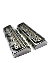 SBC Small Block Chevy GM Angle Plug Aluminum Cylinder Head Set 64cc 2.02/1.60