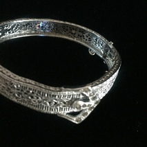 Vintage 20s J.H. Peckham rhodium plated filigree bracelet with buckle de... - $95.00