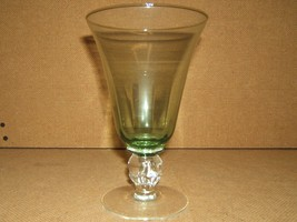 Designer Water Glass Short Stem 7in x 4in x 4in Green/Clear Classic - $9.01