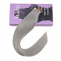 VeSunny 18Inch Silver Grey Tape in Extensions Human Hair 20pcs 50g Remy Adhesive image 2