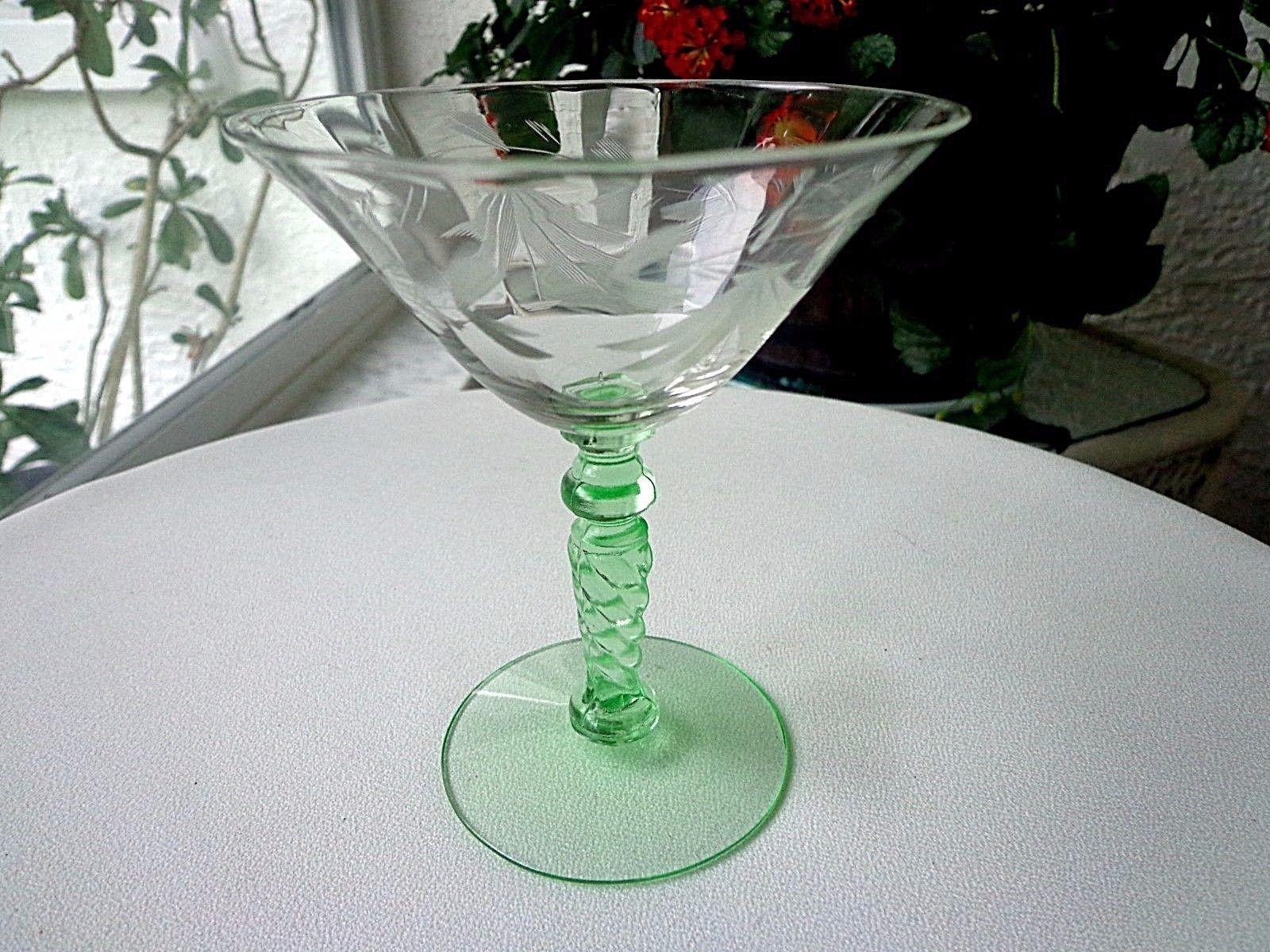 Morgantown Glass 1930 Champagne Glass Vaseline Stem # 7653