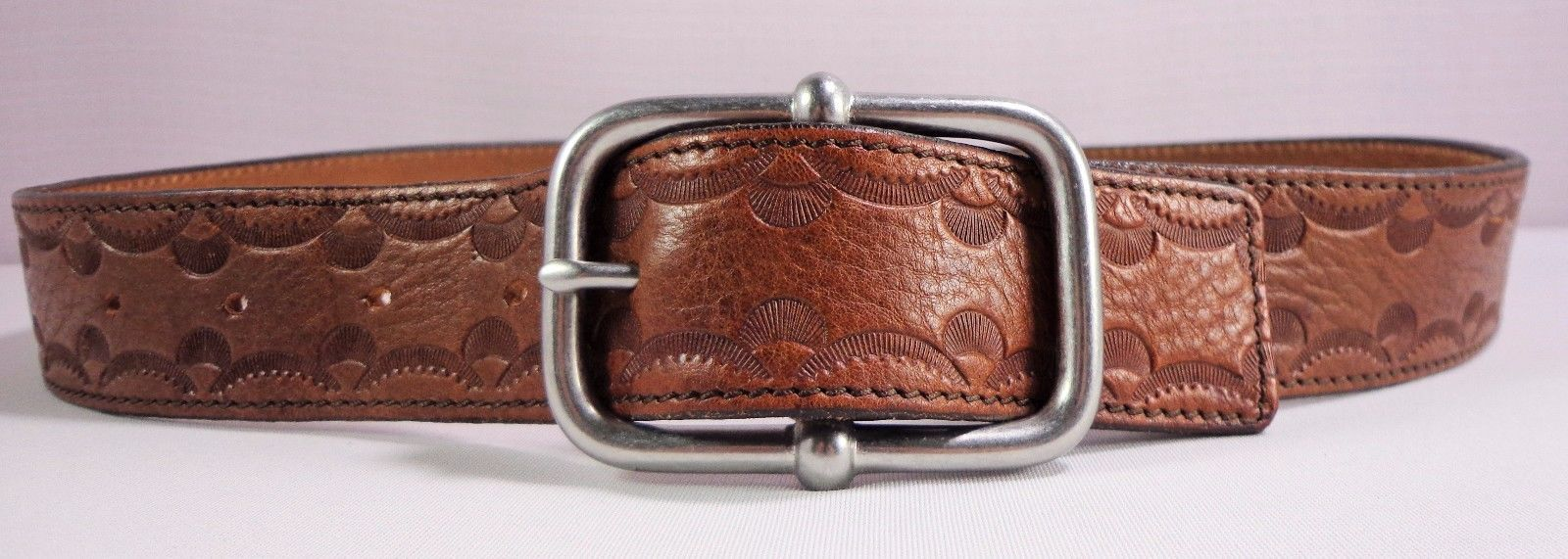 GAP Womens Genuine Cow Leather Belt Brown Size S Small Made in USA