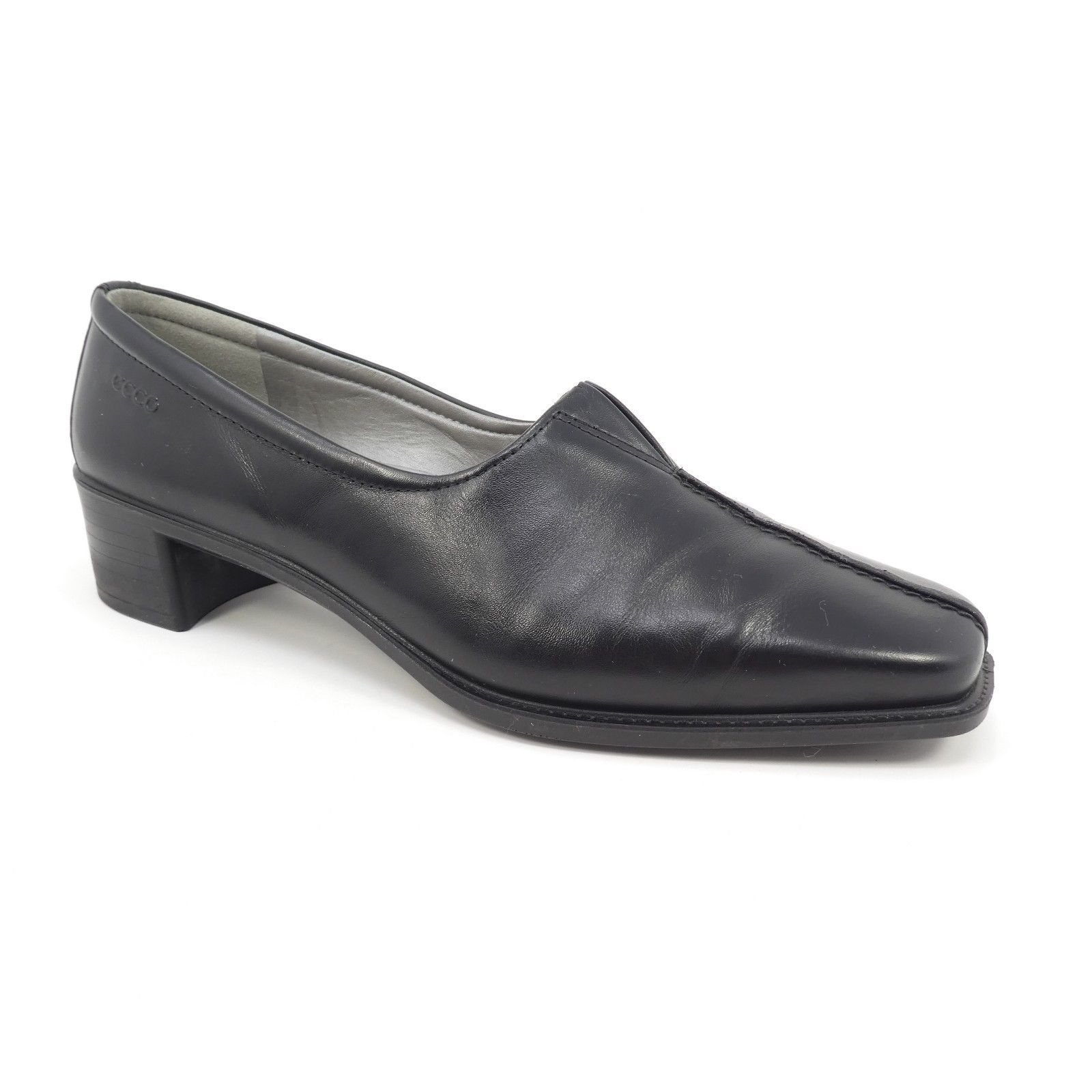 Ecco Womens Heeled Square Plain Toe Loafers Sz 38 Dark Brown Casual Career Shoes