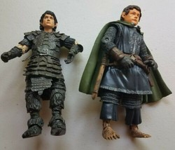 Lord of the Rings LOTR Posable Action Figures In Armor Frodo Pippin 2003... - $11.87