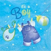 Blue Clothesline Baby Shower Dessert Napkins 16 Ct Birthday Party Suppli... - $3.91