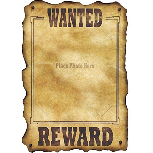 Western Wanted Sign slotted to hold 8 x10 photo Party Accessory  1 count