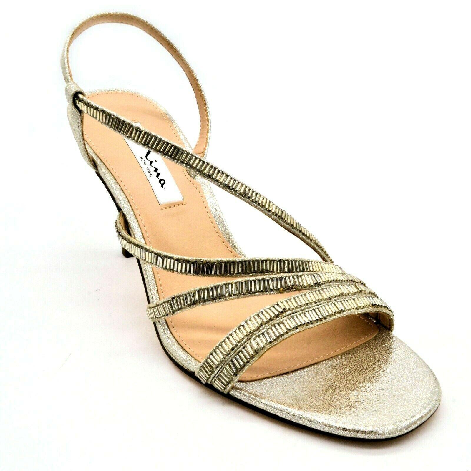 Nina New York Womens Sparkle Strappy Slingback Heels Sz 8.5M Silver Leather NEW - $32.66