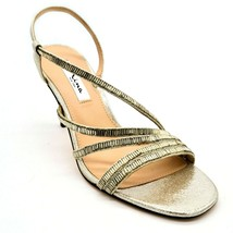 Nina New York Womens Sparkle Strappy Slingback Heels Sz 8.5M Silver Leat... - $32.66