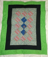 FROGS REPTILE GREEN QUILT new handcrafted 41 x 33 throw toddler wheelcha... - $40.00