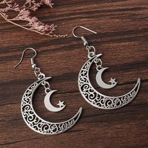 Charming Moon Star Crescent Earrings 925 Silver Dangle Earring Jewelry Gift - $1.40