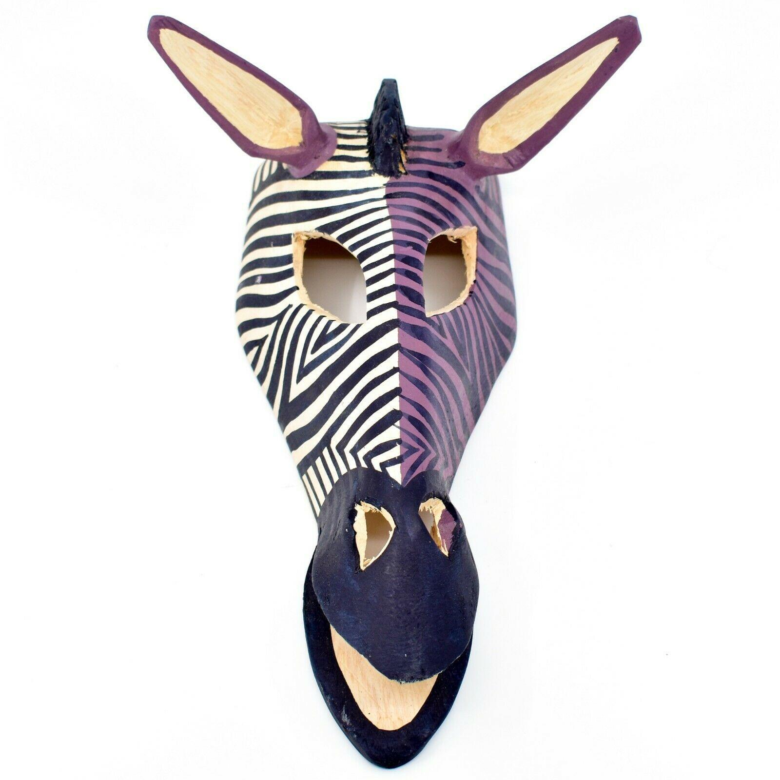 Hand Carved Painted Jacaranda Wood Purple Duotone Zebra Print Giraffe Mask Decor