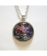 Dragon Sitting on Skull Glass Cabochon Pendant Necklace SC603 - $6.98