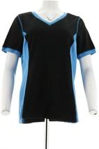 Denim & Co Active Colorblock Short Slv Top Deep MarineBlue XXS NEW A277654 - $29.68