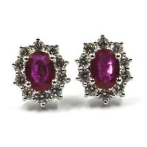 18K WHITE GOLD FLOWER EARRINGS OVAL RUBY 1.66 CARATS, DIAMONDS FRAME 1.00 CARATS image 6