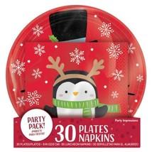 Snowy Friends Snowman Penguin 60 Ct Value Pack 30 Plates, 30 Napkins - $16.79
