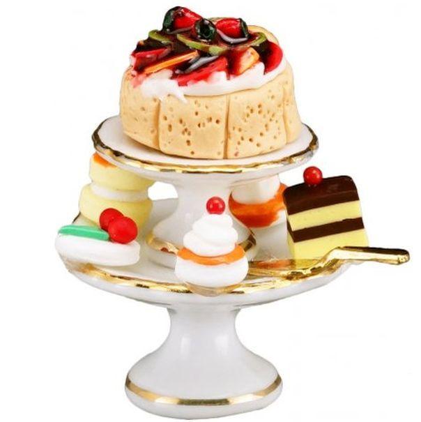 Cake Pyramid 1.663/6 Reutter Classic White Dessert Dollhouse Miniature - $22.04