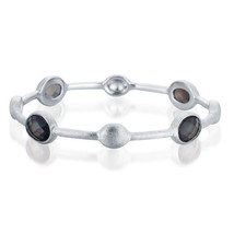 Sterling Silver Genuine Smokey Quartz Bangle Bracelet - $249.99
