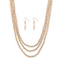 "2-Piece Cream Beaded Gold Tone 3-Strand Necklace and Drop Earrings Set 30""-33"" - $23.19"