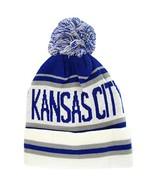 Kansas City Adult Size Winter Knit Beanie Hats (White/Royal Blue) - $16.00