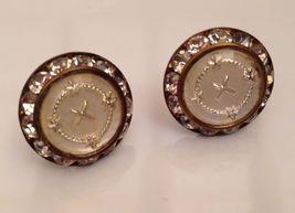 VTG/Antique Unsigned Rhinestone Cross/Insignia Round Screw Back Earrings... - $19.98