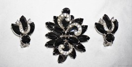 WEISS Lovely Vtg Black Navette & Diamonte Ribbon Pin/Brooch Clip Earrings  - $151.40