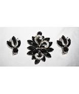 WEISS Lovely Vtg Black Navette & Diamonte Ribbon Pin/Brooch Clip Earrings  - $151.40