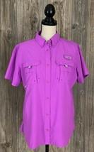Columbia PFG Fishing Shirt Women's Medium Pink Tactel Nylon Outdoor Trek  - $14.85