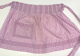 Vintage Purple and White Gingham Cross Stitch Embroidered Hostess Apron  - $17.65