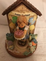Goebel Hummelscape Happy Birthday Statue with S41 Sweet As Can Be Figurine - $60.78