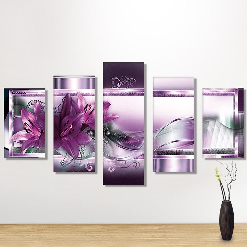 DIY Diamond Painting Purple Flowers 5D Embroidery Diamond Painting Mosaic Crafts