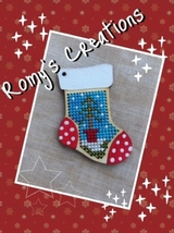 Stocking Wooden Stitchable Kit holiday cross stitch kit Romy's Creations  - $12.60