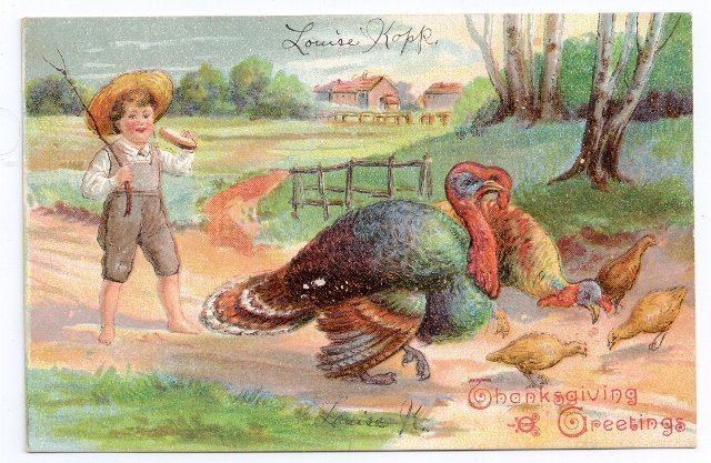 Farm Boy Turkey Family Tom Hen and Poults Embossed Thanksgiving Vintage Postcard - $4.70