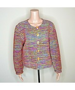 Woven Sweater Jacket Parsley and Sage Size M Rainbow Colors Boho Button ... - $39.59