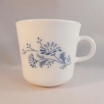 Corning Colonial Mist Coffee Mug Blue Flowers C Handle Milk Glass - $9.99