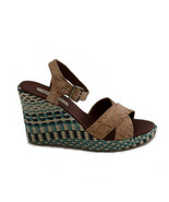 Vegan wedge heel sandal with an ankle-strap buckle and criss cross strap... - $72.00